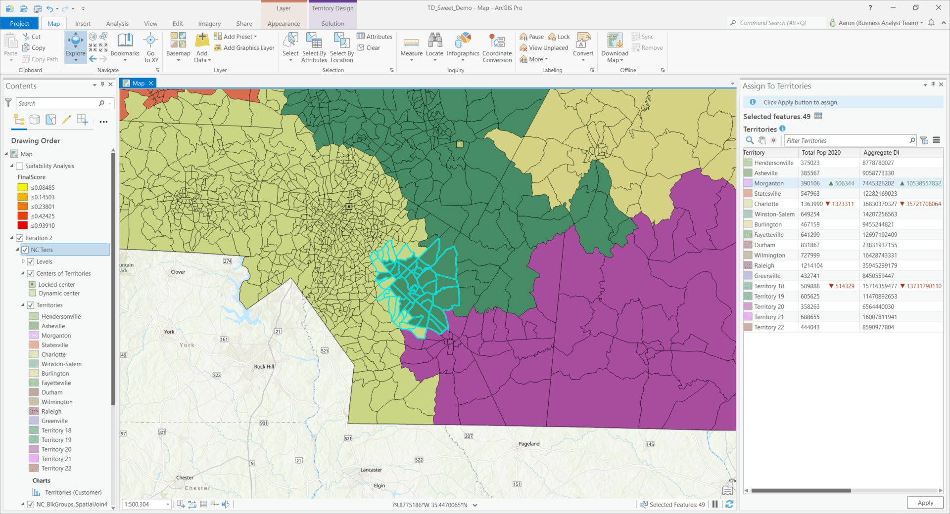A multi-colored map highlighting the territory design panel in ArcGIS Business Analyst Pro.
