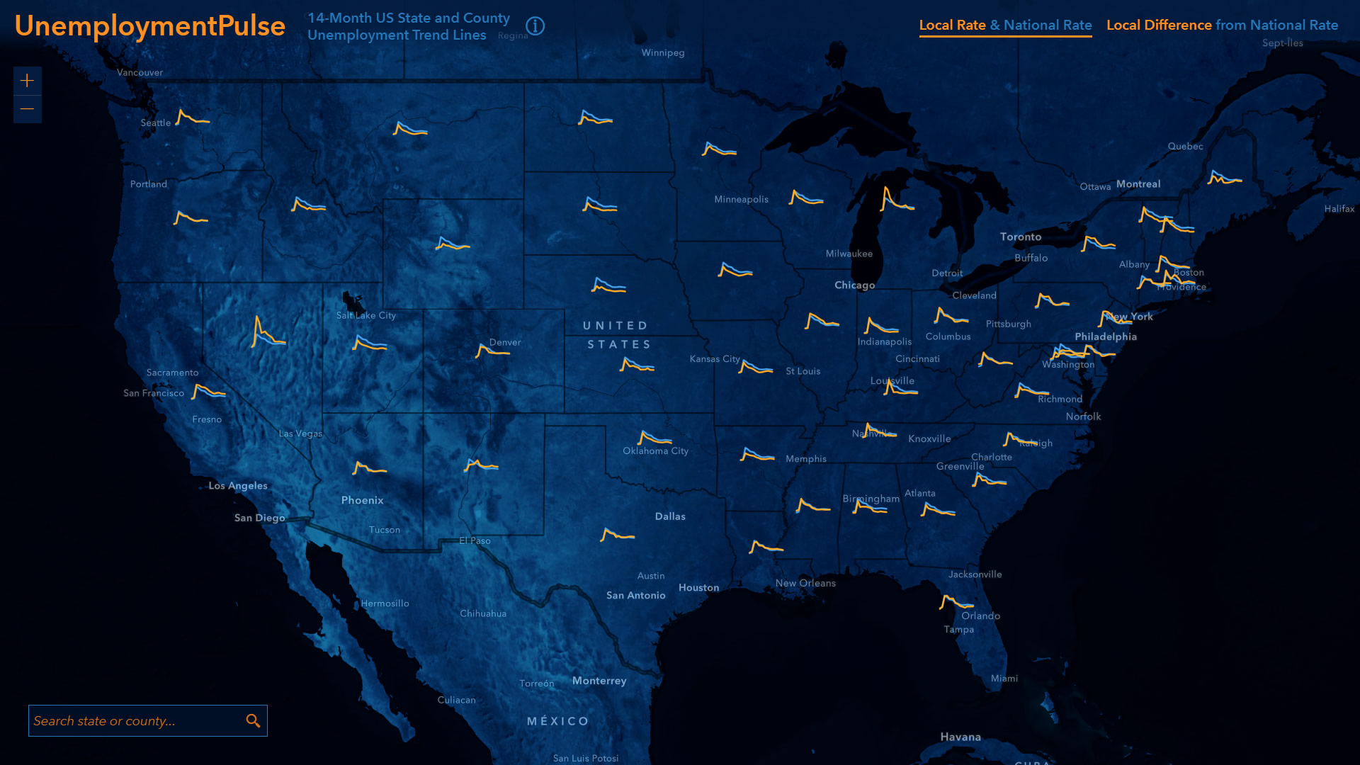 UnemploymentPulse tracks state and local rates of unemployment through time.