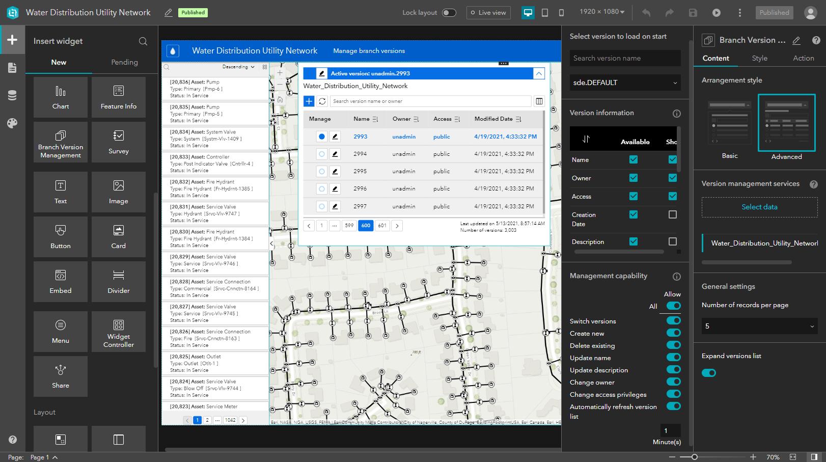 Branch Version Management widget in Experience Builder
