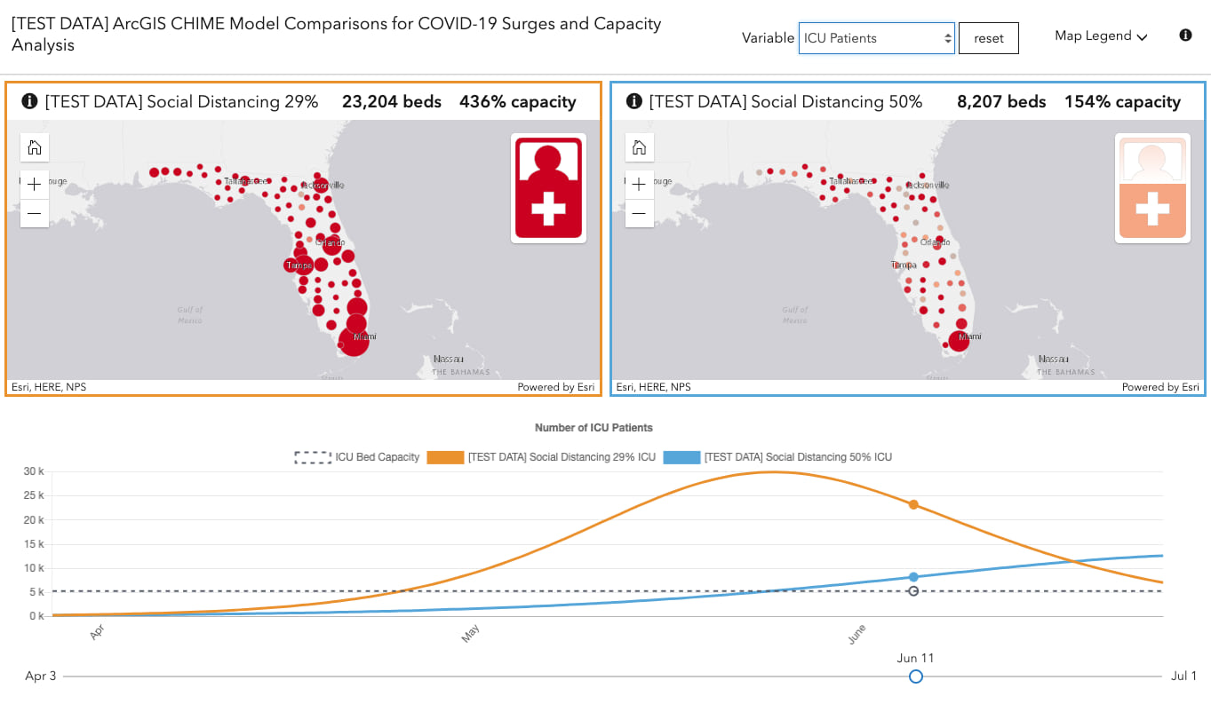 Capacity Analysis app preview showing side-by-side maps of different hospital bed demands given different levels of compliance to social distancing recommendations.