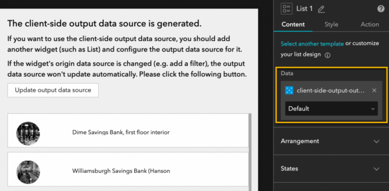 Client side output data source