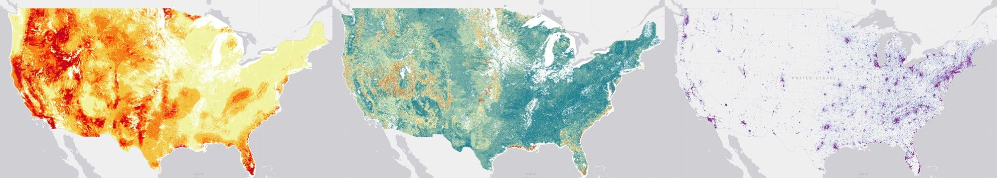 three fire maps from USFS