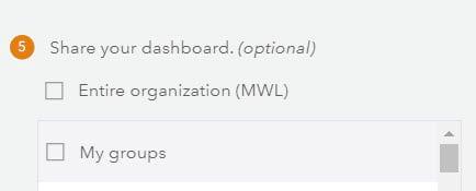 Dashboard sharing options