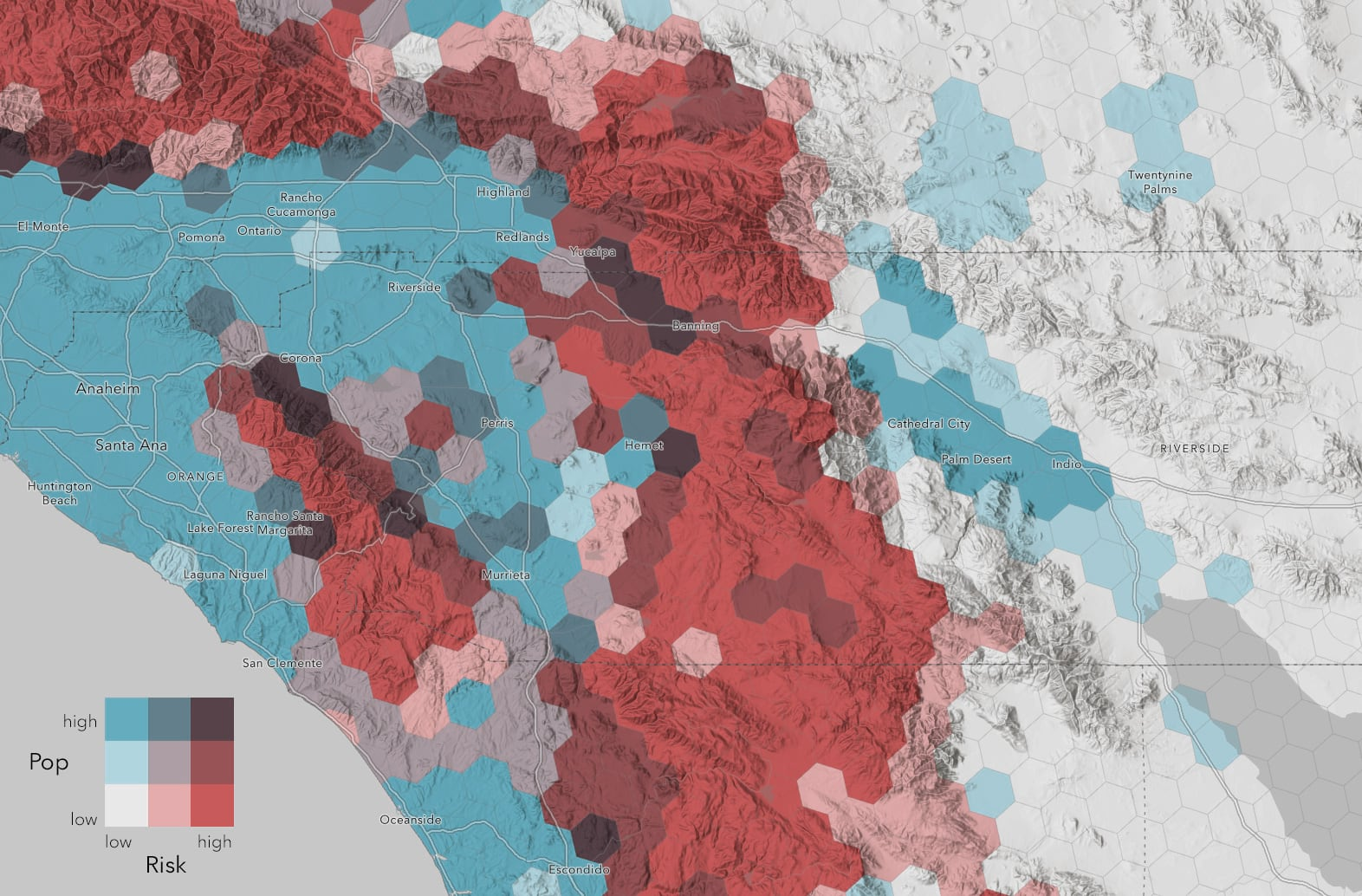 population density vs wildfire hazard map