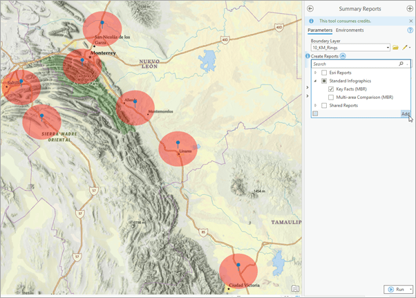 Selecting infographics for Mexico from the Summary Reports tool.