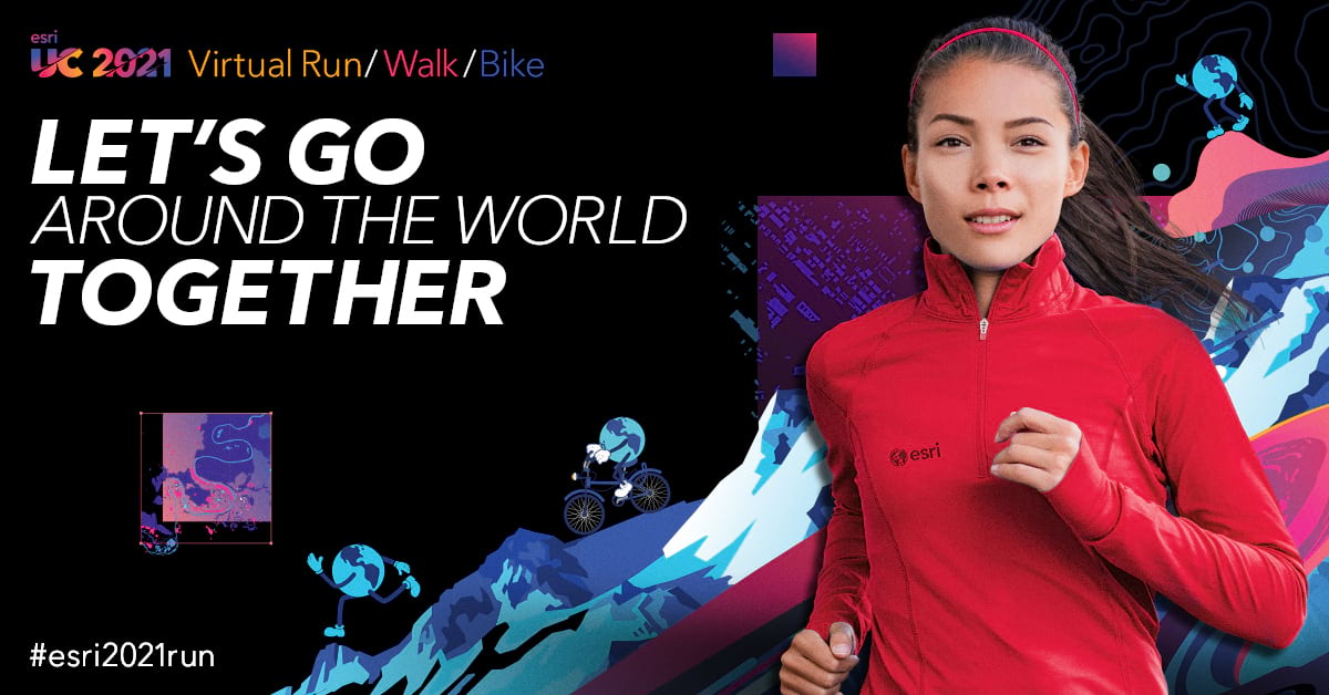 UC 2021 virtual run walk bike promotional image featuring young woman running in a red Esri sweater on a black background and a splash of vibrant colors behind her.