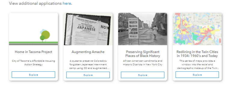 Applications Section of the Racial Equity GIS Hub