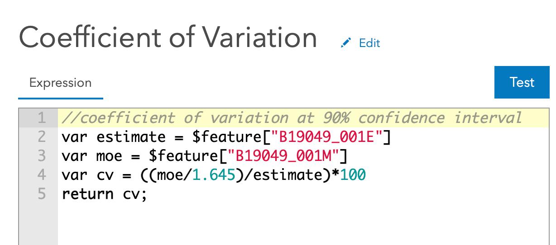 Coefficient of Variation Arcade Expression
