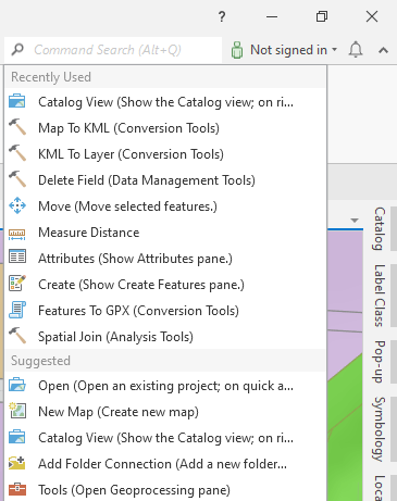 Command Search control on the ribbon in ArcGIS Pro