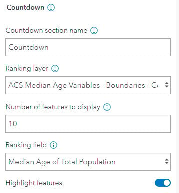 Countdown configuration section: name, ranking layer, number of features to display (currently set to 10), and ranking field.