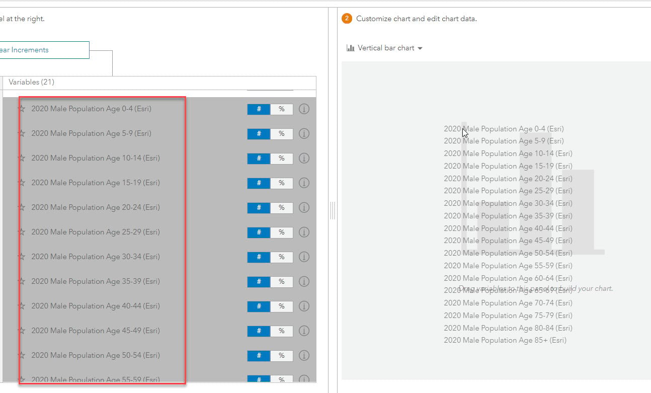 Drag and drop variables in the chart window