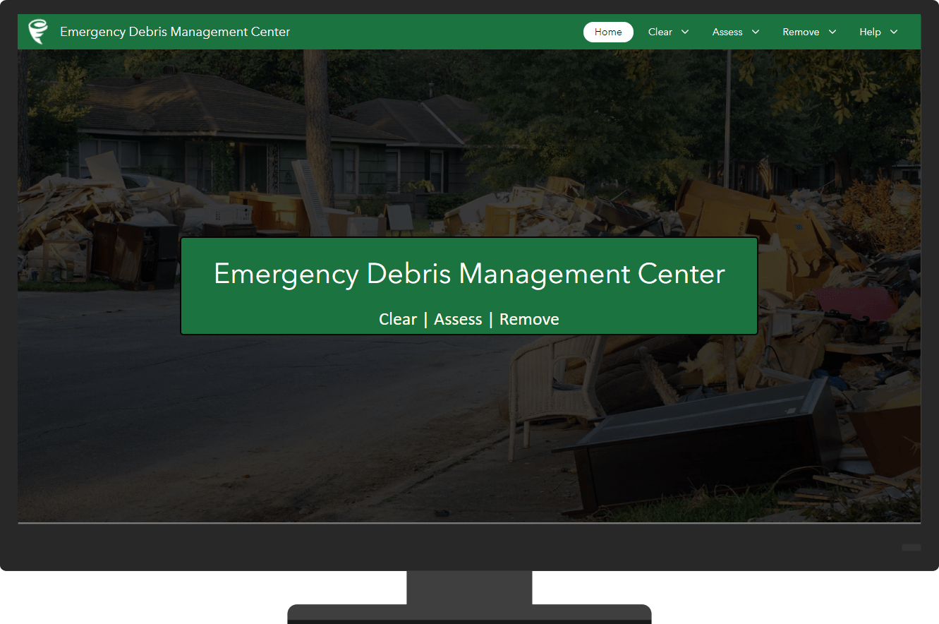 Home page for the Emergency Debris Management Center app.
