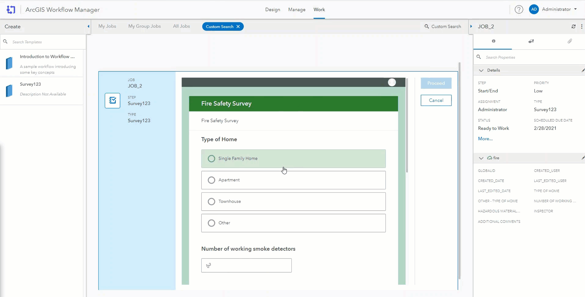 A survey within Workflow Manager