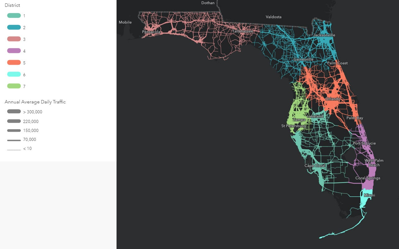 Same map of Florida streets as before, although this one shows the lines in various widths corresponding to the traffic (wider lines = more traffic).