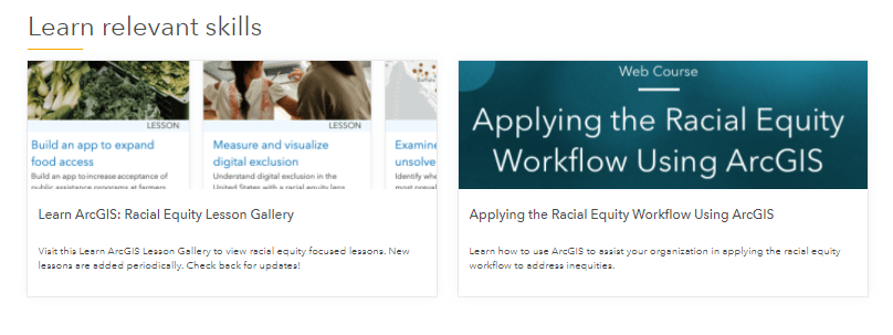 Find Racial equity training on the Learn Relevant Skills section of the hub's Resources page