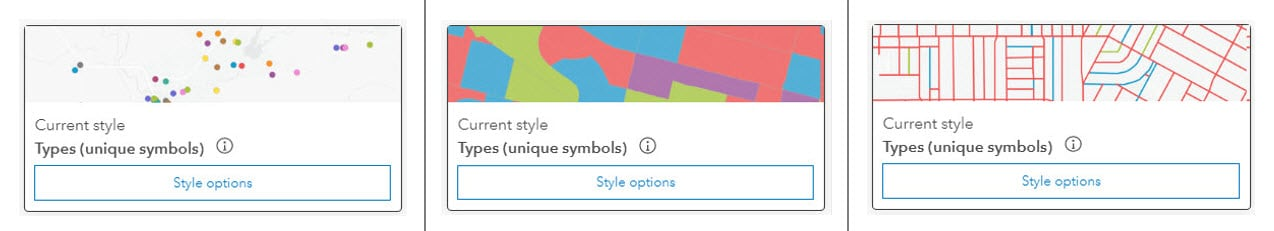 Thumbnails of how the Types (unique symbols) option looks in ArcGIS Online for points, lines, and polygons.