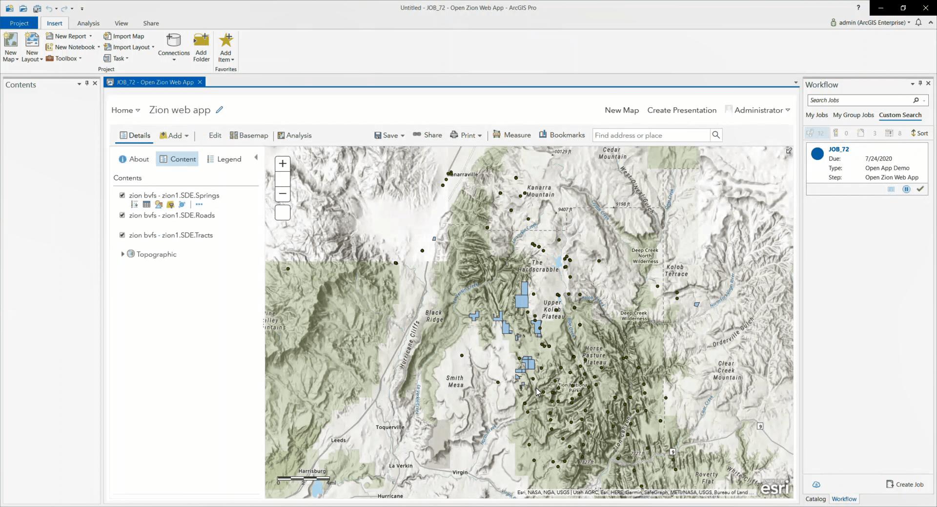 An opened web app inside of ArcGIS Pro