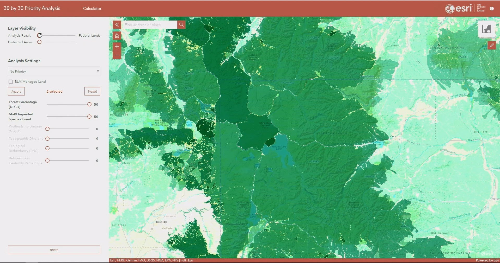 A 30 by 30 ArcGIS application create with ArcGIS. The application shows a map with shades of green in various areas. Dark green areas represent high conservation areas.