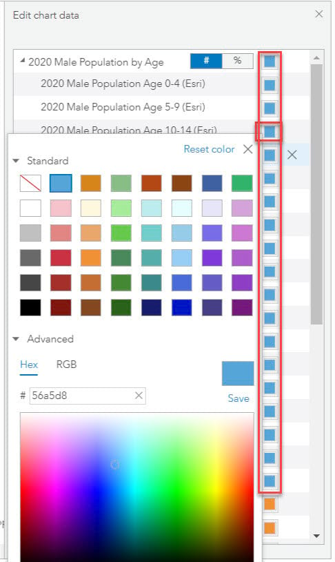 Differentiate series using color swatch