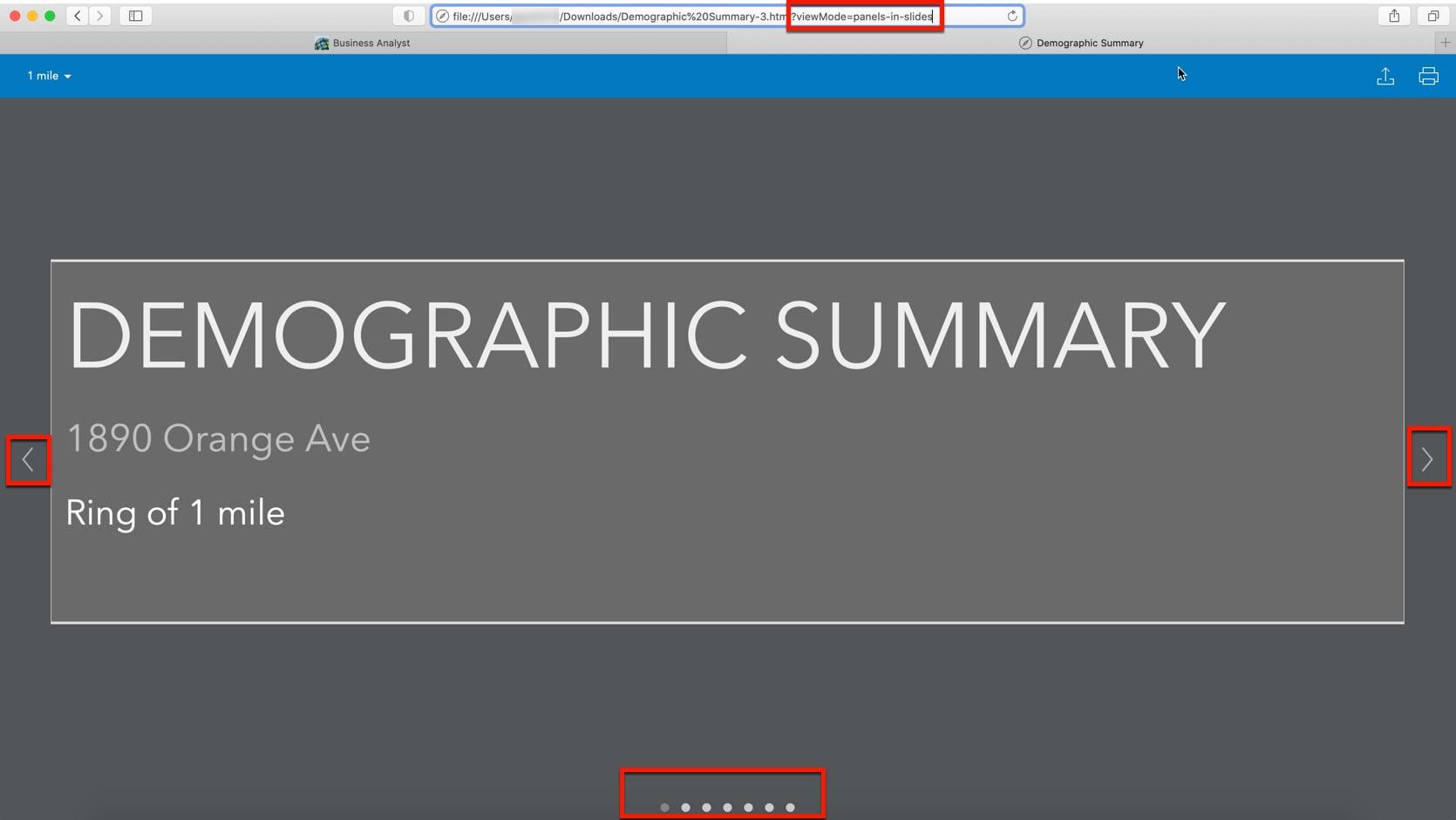 Infographic panels in slide mode