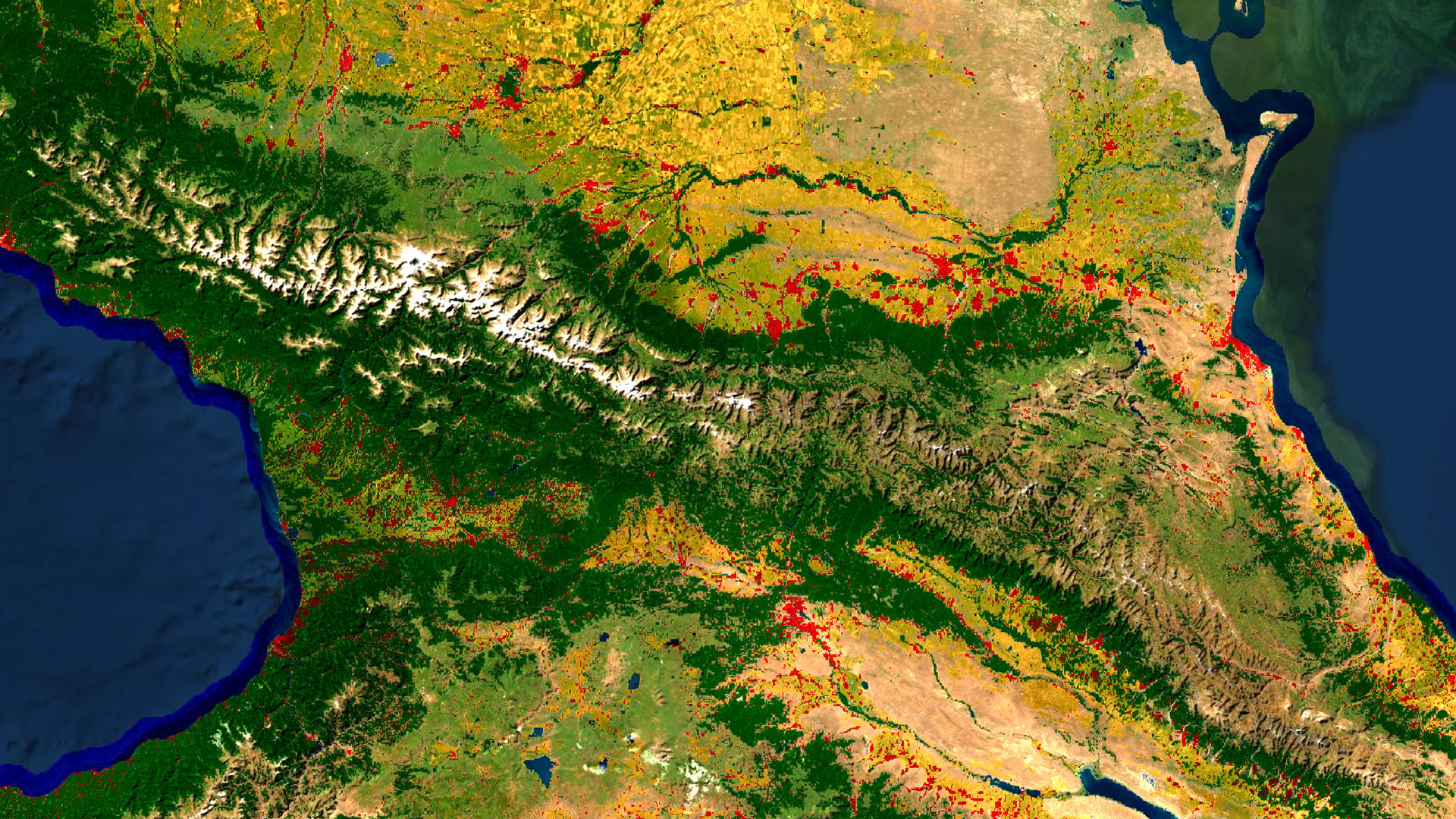 land cover with imagery blending