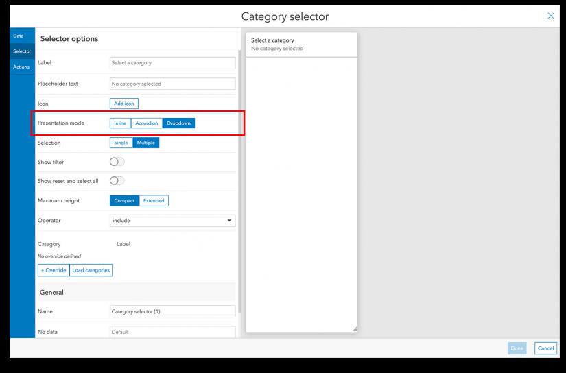 Set the presentation mode in the selector configuration menu.
