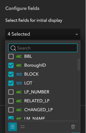 Select display fields in Table