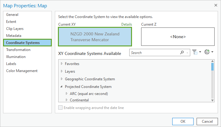 Coordinate Systems tab