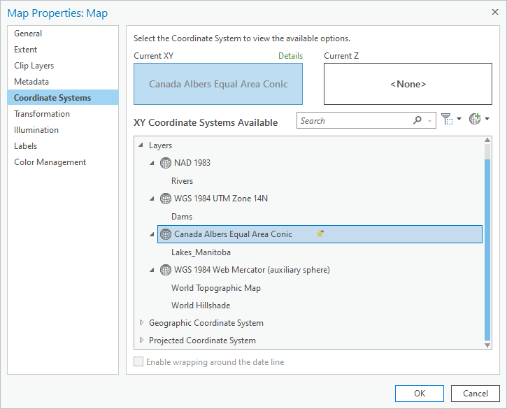 Coordinate Systems page in the Map Properties window
