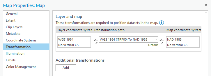 Transformation page of the Map Properties window