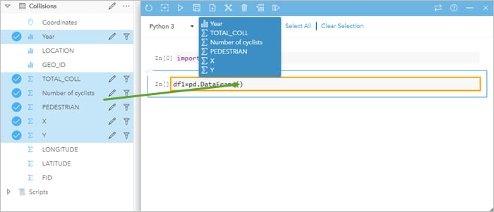 Drag fields to the scripting console