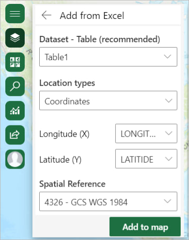 Add from Excel pane in ArcGIS for Office