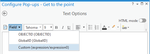 Add existing Arcade expression to a pop-up's text element in ArcGIS Pro.