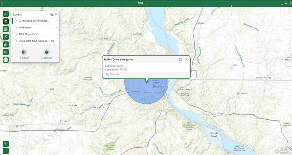 Buffer/Drive time analysis in ArcGIS for Office