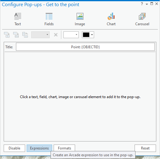 Configure pop-ups window in ArcGIS Pro, showing where the Expressions button is.