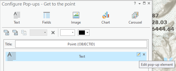Edit text element from the configure pop-ups window in ArcGIS Pro