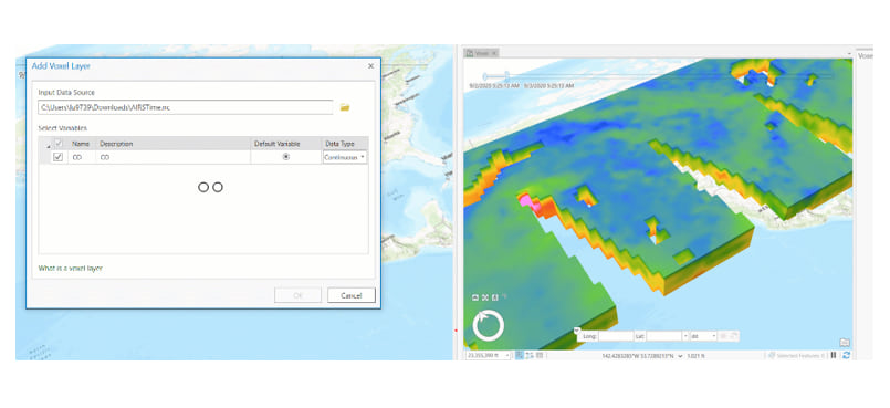 Adding the combined NetCDF AIRS dataset to ArcGIS Pro.