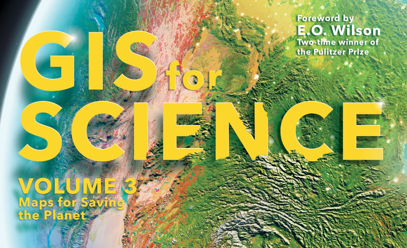 GIS for Science cover art with text-eating terrain..