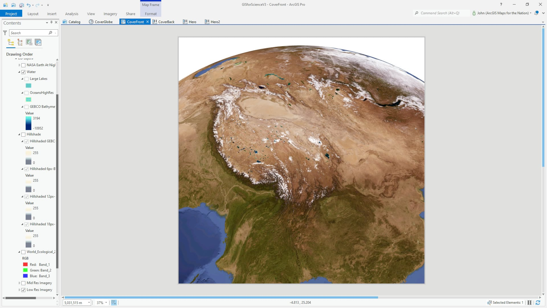 ArcGIS Pro 3D global scene with imagery.