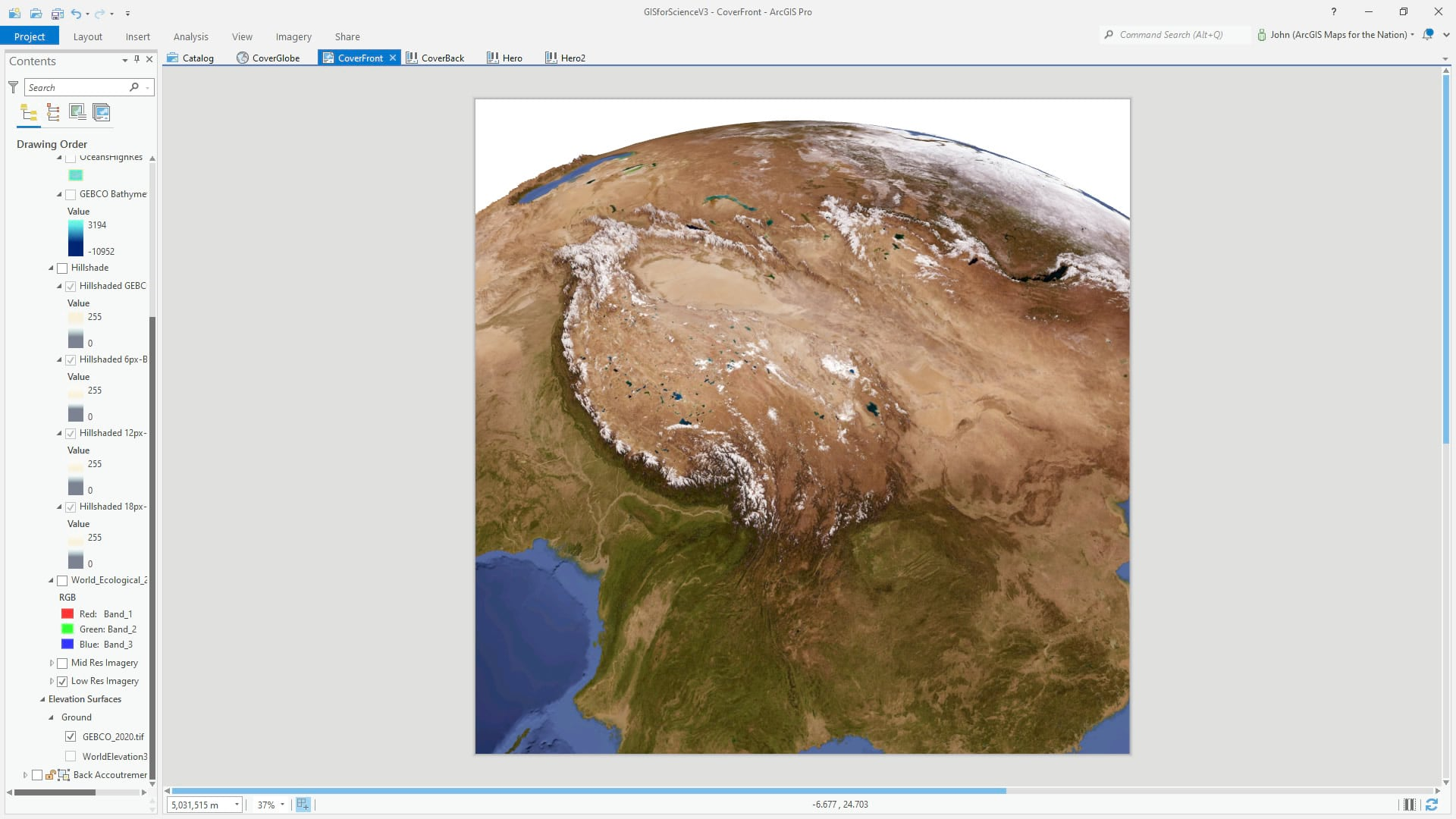 ArcGIS Pro 3D global scene with vertical exaggeration.