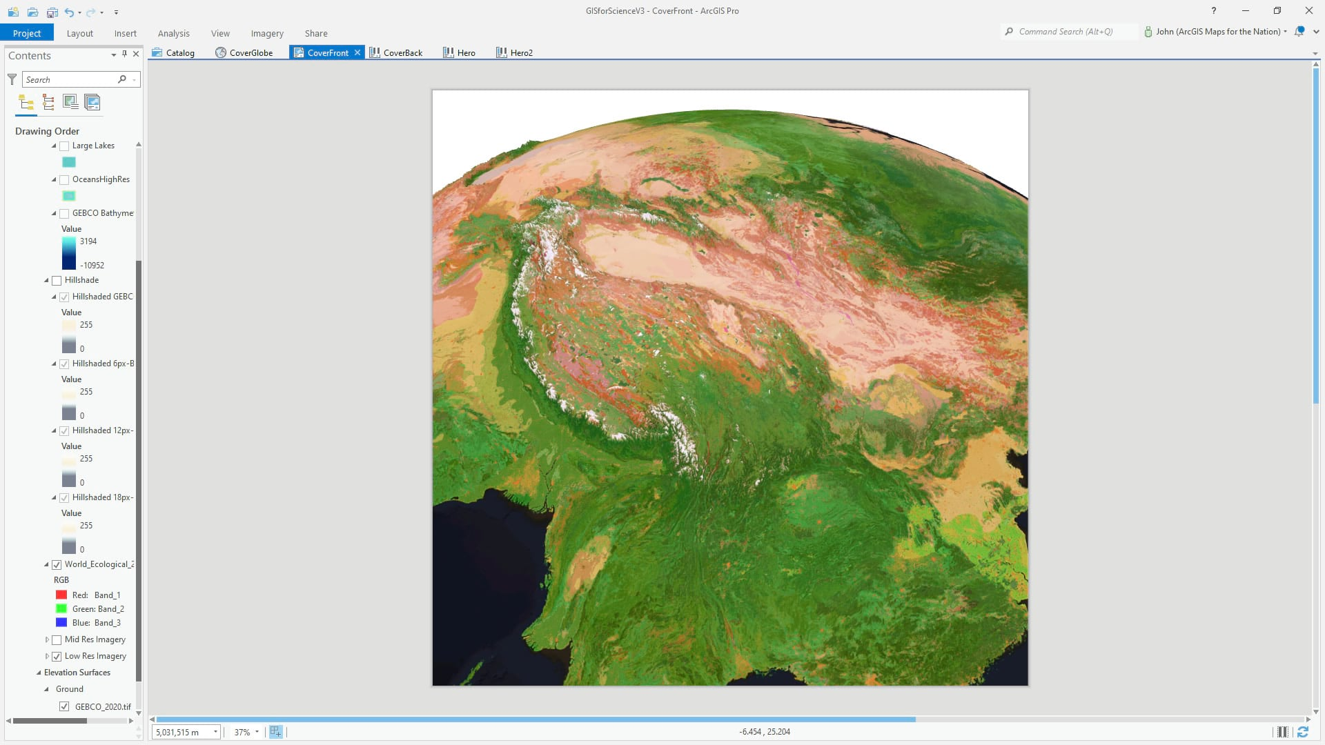 ArcGIS Pro 3D global scene with Ecological Land Units.