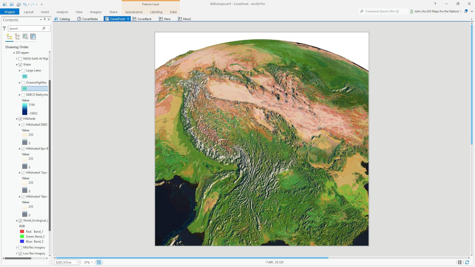 ArcGIS Pro 3D global scene with hillshade.