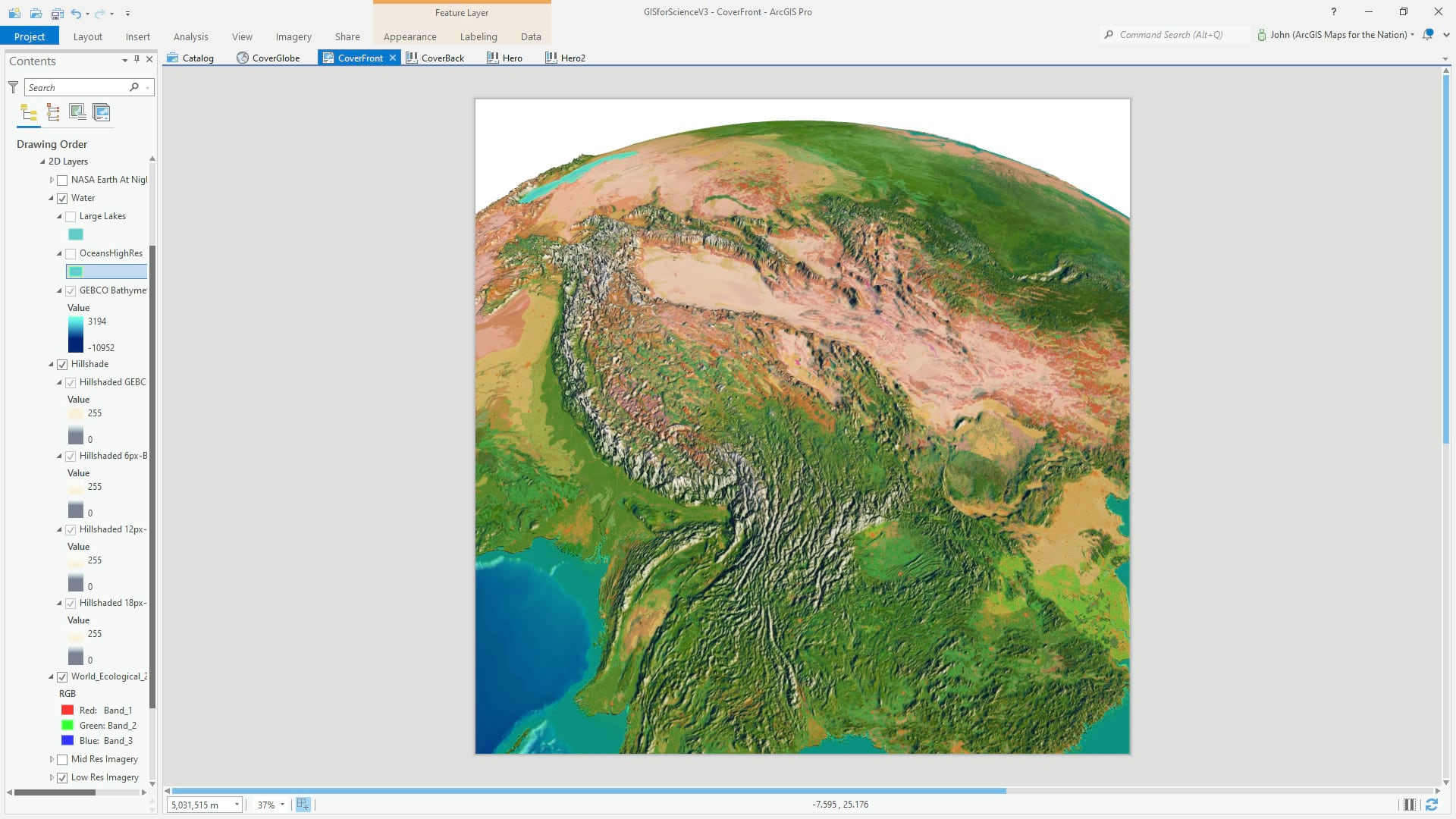 ArcGIS Pro 3D global scene with GEBCO bathymetry.