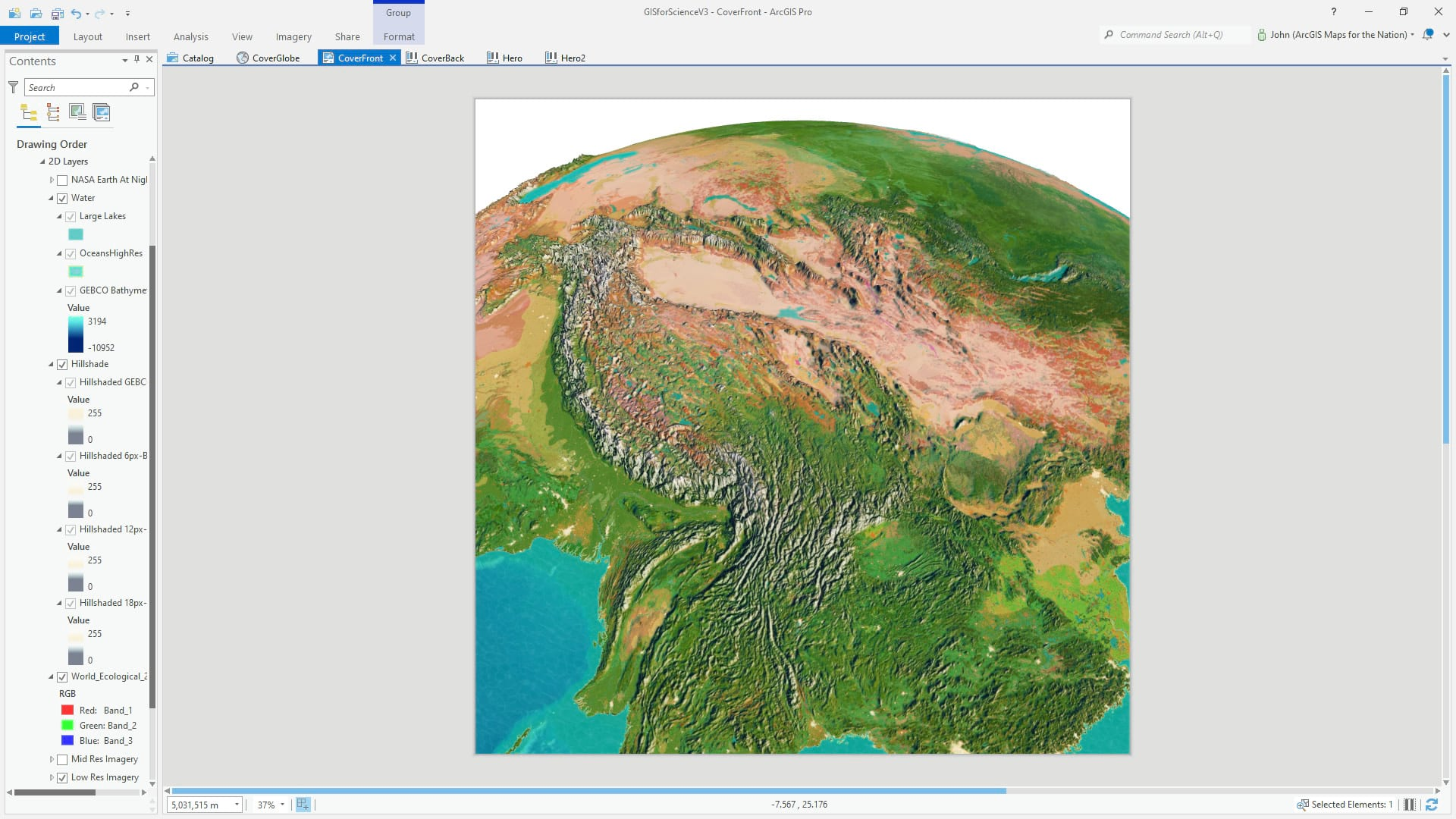 ArcGIS Pro 3D global scene with water ripples.