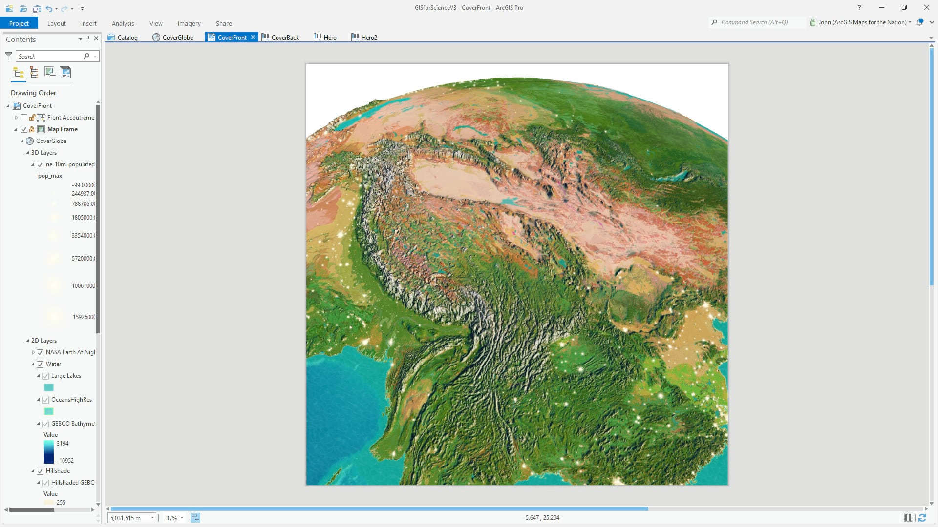 ArcGIS Pro 3D global scene with firefly symbol cities.