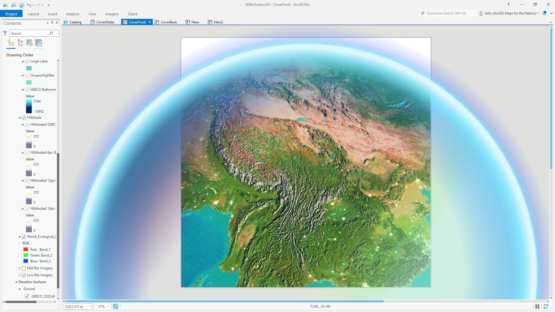 ArcGIS Pro 3D global scene with a hacked atmospheric effect.