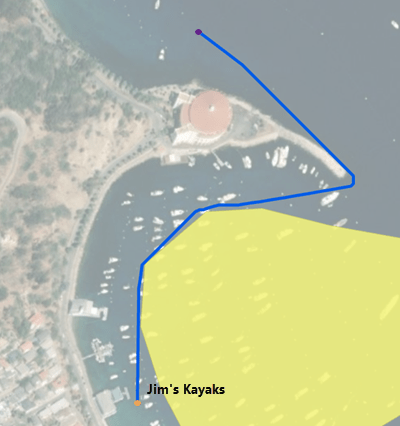 Shortest path to paddle to reach source