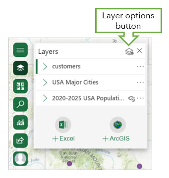 Layer options button in ArcGIS for Office