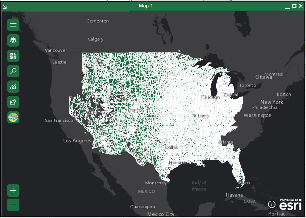 Zipcodes polygons on the map.