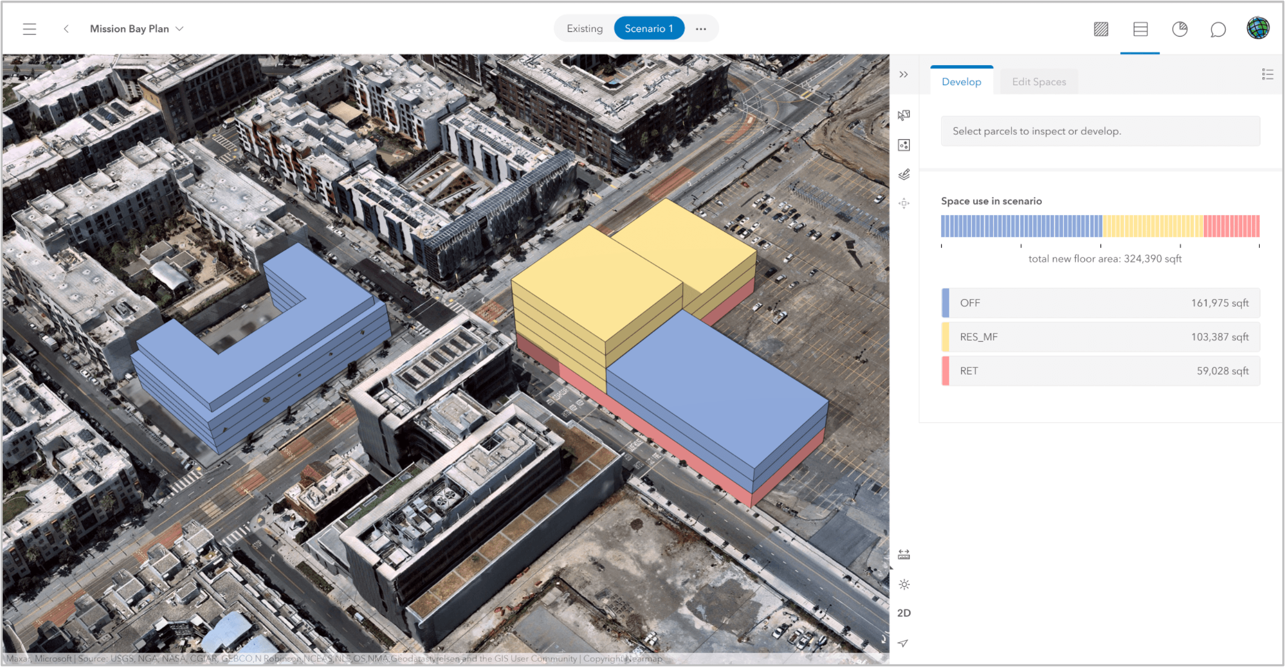 urban plan scenario and dashboard